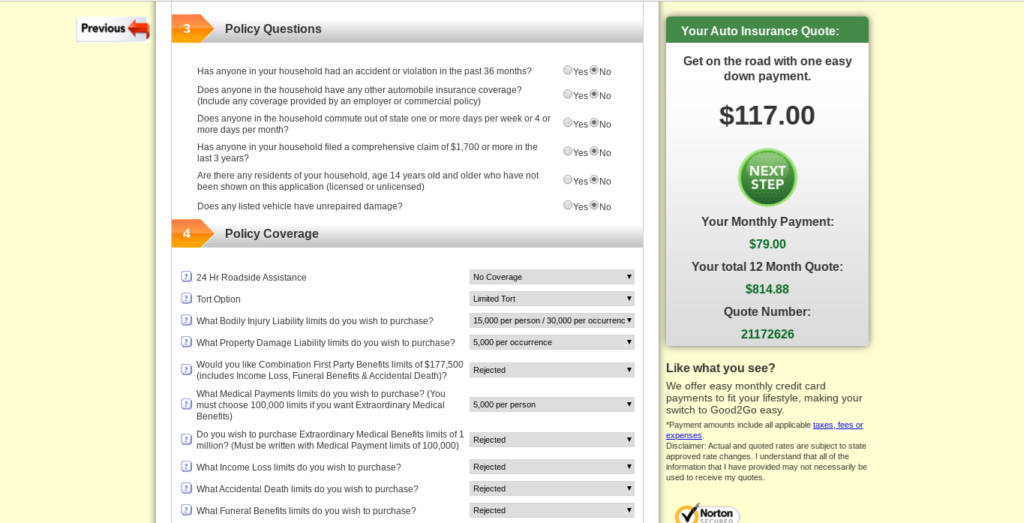 Good2Go auto insurance quote policy questions