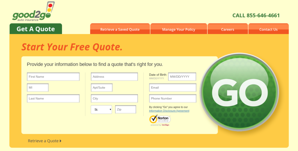 Good2go auto insurance quote personal information screen