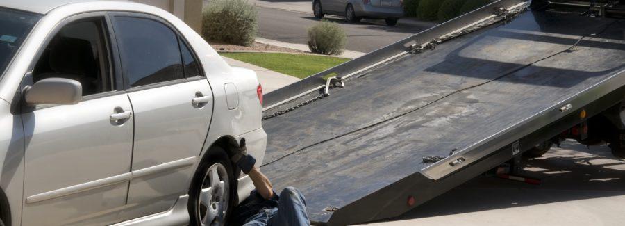 Car being towed away after breakdown