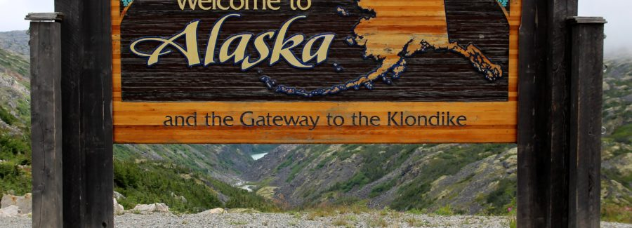 Welcome to Alaska and the Gateway to the Klondike sign