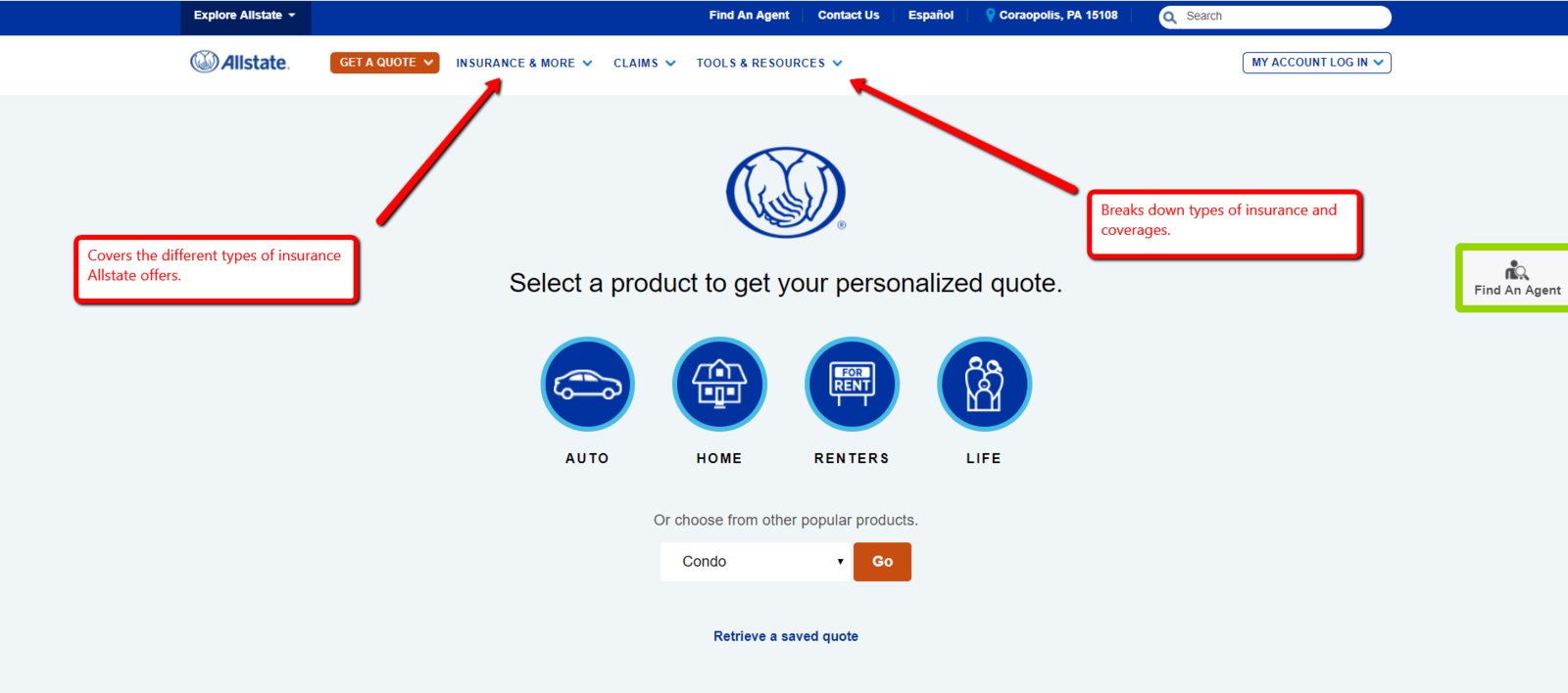 Allstate website easy to use