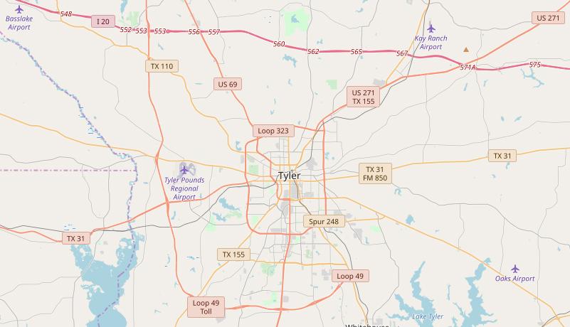 Tyler Texas Major Highways
