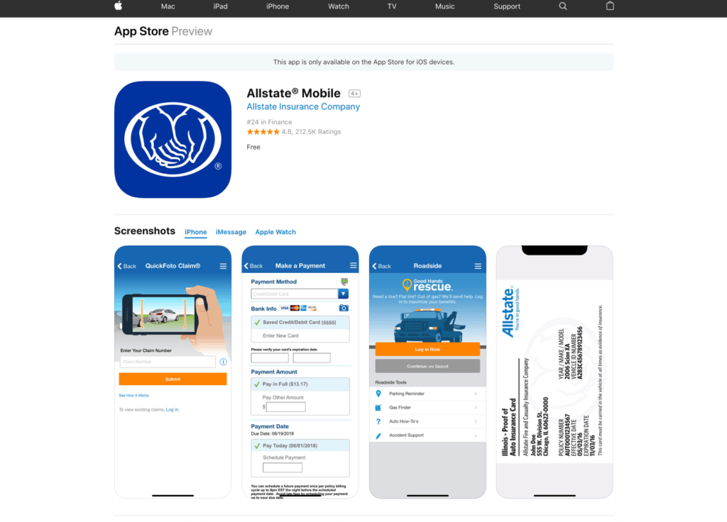 Allstate app store screenshots
