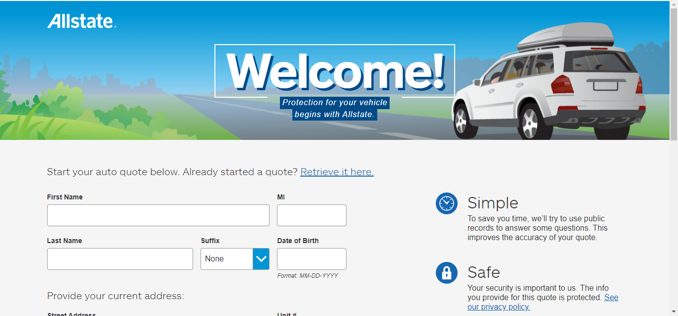 Allstate online quotes step 2