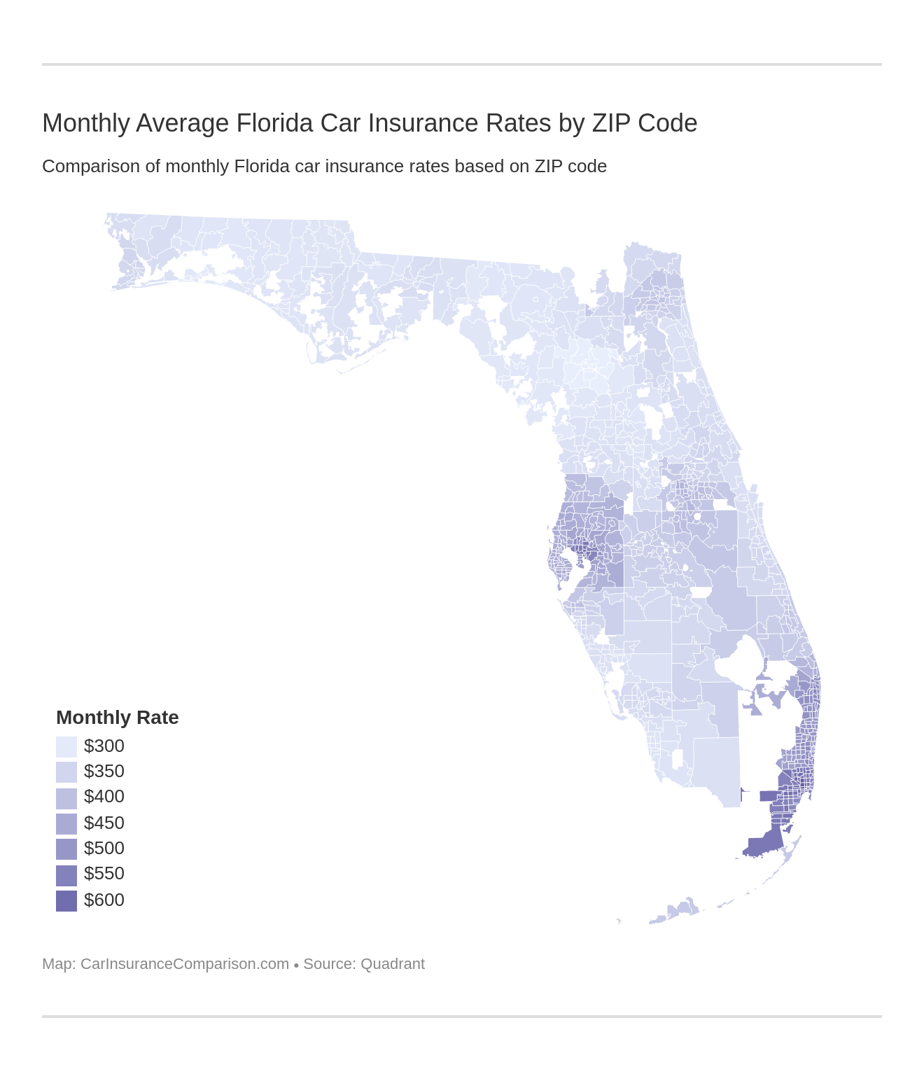 Monthly Average Florida Car Insurance Rates by ZIP Code