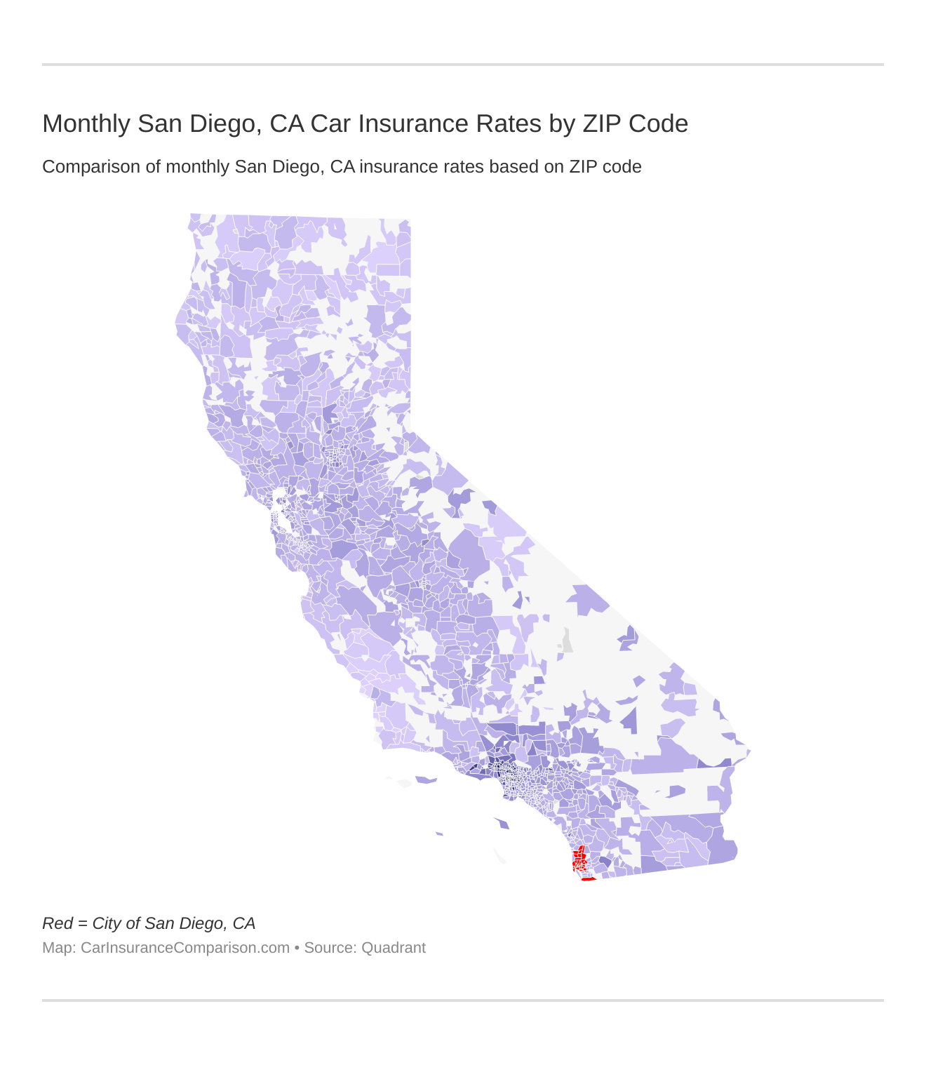 Monthly San Diego, CA Car Insurance Rates by ZIP Code