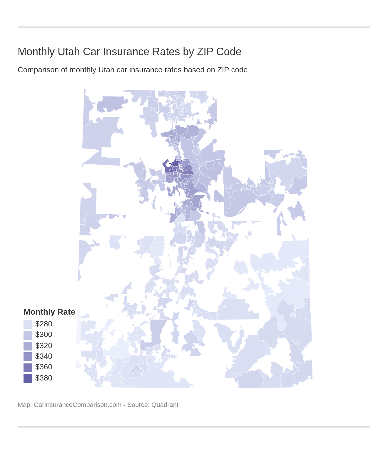 Monthly Utah Car Insurance Rates by ZIP Code